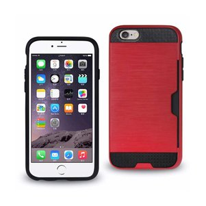 REIKO IPHONE 6 SLIM ARMOR HYBRID CASE WITH CARD HOLDER IN RED