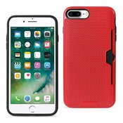REIKO IPHONE 7 PLUS SLIM MESH SURFACE ARMOR HYBRID CASE WITH CARD HOLDER IN RED