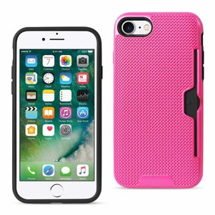 REIKO IPHONE 7 SLIM MESH SURFACE ARMOR HYBRID CASE WITH CARD HOLDER IN HOT PINK