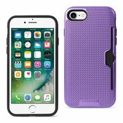 REIKO IPHONE 7 SLIM MESH SURFACE ARMOR HYBRID CASE WITH CARD HOLDER IN PURPLE