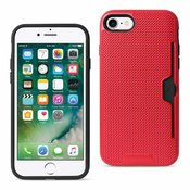 REIKO IPHONE 7 SLIM MESH SURFACE ARMOR HYBRID CASE WITH CARD HOLDER IN RED