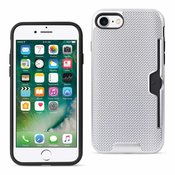 REIKO IPHONE 7 SLIM MESH SURFACE ARMOR HYBRID CASE WITH CARD HOLDER IN SILVER