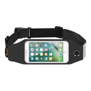 REIKO RUNNING SPORT BELT FOR IPHONE 7/ 6/ 6S OR 5 INCHES DEVICE WITH TWO POCKETS IN BLACK (5x5 INCHES)