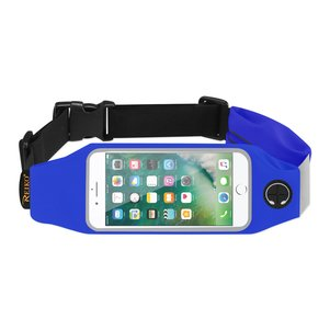 REIKO RUNNING SPORT BELT FOR IPHONE 7/ 6/ 6S OR 5 INCHES DEVICE WITH TWO POCKETS IN BLUE (5x5 INCHES)