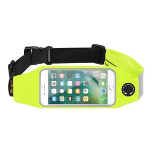 REIKO RUNNING SPORT BELT FOR IPHONE 7/ 6/ 6S OR 5 INCHES DEVICE WITH TWO POCKETS IN GREEN (5x5 INCHES)