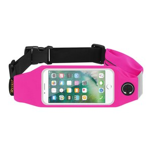 REIKO RUNNING SPORT BELT FOR IPHONE 7/ 6/ 6S OR 5 INCHES DEVICE WITH TWO POCKETS IN PINK (5x5 INCHES)