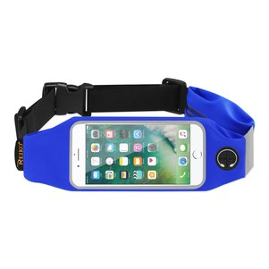 REIKO RUNNING SPORT BELT FOR IPHONE 7 PLUS/ 6S PLUS OR 5.5 INCHES DEVICE WITH TWO POCKETS IN BLUE (5.5x5.5 INCHES)