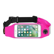 REIKO RUNNING SPORT BELT FOR IPHONE 7 PLUS/ 6S PLUS OR 5.5 INCHES DEVICE WITH TWO POCKETS IN PINK (5.5x5.5 INCHES)