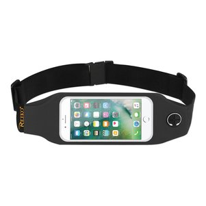 REIKO RUNNING SPORT BELT FOR IPHONE 7/ 6/ 6S OR 5 INCHES DEVICE WITH TWO POCKETS AND LED IN BLACK (5x5 INCHES)
