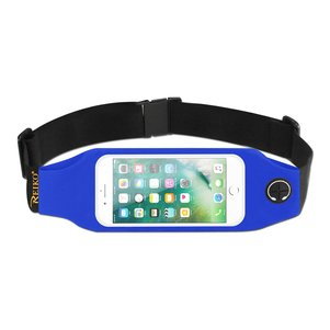 REIKO RUNNING SPORT BELT FOR IPHONE 7/ 6/ 6S OR 5 INCHES DEVICE WITH TWO POCKETS AND LED IN BLUE (5x5 INCHES)
