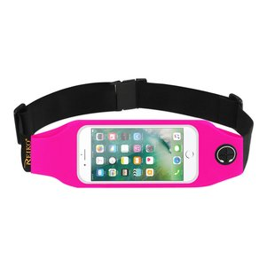 REIKO RUNNING SPORT BELT FOR IPHONE 7/ 6/ 6S OR 5 INCHES DEVICE WITH TWO POCKETS AND LED IN PINK (5x5 INCHES)