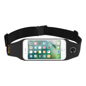 REIKO RUNNING SPORT BELT FOR IPHONE 7 PLUS/ 6S PLUS OR 5.5 INCHES DEVICE WITH TWO POCKETS AND LED IN BLACK (5.5x5.5 INCHES)