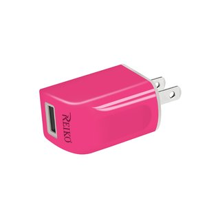 REIKO IPHONE 6 1 AMP PORTABLE TRAVEL ADAPTER CHARGER WITH CABLE IN HOT PINK