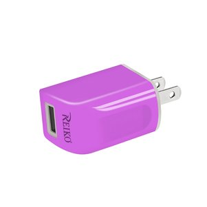 REIKO IPHONE 6 1 AMP PORTABLE TRAVEL ADAPTER CHARGER WITH CABLE IN PURPLE