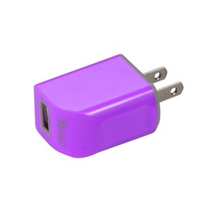 REIKO MICRO USB 1 AMP PORTABLE MICRO TRAVEL ADAPTER CHARGER WITH CABLE IN PURPLE