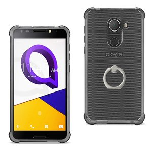 Reiko Alcatel Walters Transparent Air Cushion Protector Bumper Case With Ring Holder In Clear Black