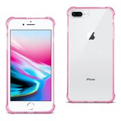 Reiko iPhone 8 Plus Clear Bumper Case With Air Cushion Protection In Clear Hot Pink