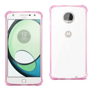Reiko Moto Albus Clear Bumper Case With Air Cushion Protection In Clear Hot Pink
