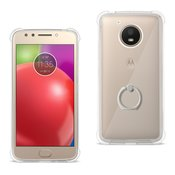 Reiko Motorola Moto E4 Active Transparent Air Cushion Protector Bumper Case With Ring Holder In Clear