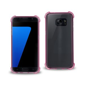 REIKO SAMSUNG GALAXY S7 CLEAR BUMPER CASE WITH AIR CUSHION PROTECTION IN CLEAR HOT PINK