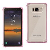 Reiko Samsung Galaxy S8 Active Clear Bumper Case With Air Cushion Protection In Clear Hot Pink