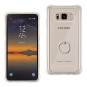 Reiko Samsung Galaxy S8 Active Transparent Air Cushion Protector Bumper Case With Ring Holder In Clear