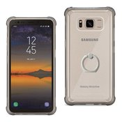 Reiko Samsung Galaxy S8 Active  Transparent Air Cushion Protector Bumper Case With Ring Holder In Clear Black