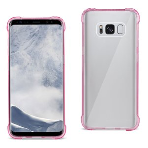 Reiko Samsung Galaxy S8 Clear Bumper Case With Air Cushion Protection In Clear Hot Pink