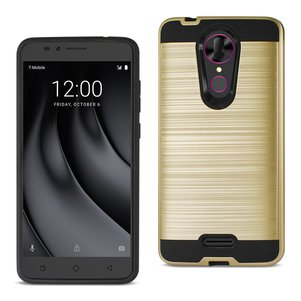 Reiko Coolpad REVVL Plus Hybrid Metal Brushed Texture Case In Gold