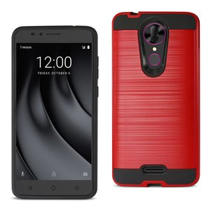 Reiko Coolpad REVVL Plus Hybrid Metal Brushed Texture Case In Red