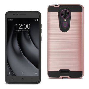 Reiko Coolpad REVVL Plus Hybrid Metal Brushed Texture Case In Rose Gold