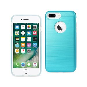 REIKO IPHONE 7 PLUS HYBRID METAL BRUSHED TEXTURE CASE IN BLUE