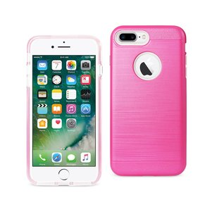 REIKO IPHONE 7 PLUS HYBRID METAL BRUSHED TEXTURE CASE IN HOT PINK