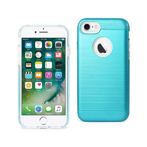 REIKO IPHONE 7 HYBRID METAL BRUSHED TEXTURE CASE IN BLUE