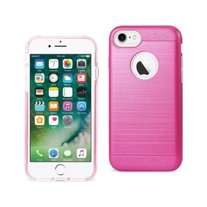 REIKO IPHONE 7 HYBRID METAL BRUSHED TEXTURE CASE IN HOT PINK