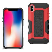 APPLE IPHONE X Slim Shockproof Protective Anti-Slip Heavy duty Case In Black/Red