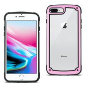 Reiko APPLE IPHONE 8 PLUS Heavy Duty Rugged Shockproof Full Body Case In Pink/Clear