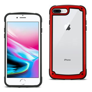 Reiko APPLE IPHONE 8 PLUS Heavy Duty Rugged Shockproof Full Body Case In Red/Clear