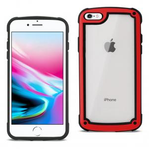 Reiko APPLE IPHONE 8 Heavy Duty Rugged Shockproof Full Body Case In Red/Clear