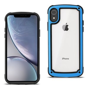 Reiko APPLE IPHONE XR Heavy Duty Rugged Shockproof Full Body Case In Blue/Clear
