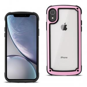 Reiko APPLE IPHONE XR Heavy Duty Rugged Shockproof Full Body Case In Pink/Clear