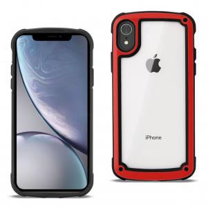 Reiko APPLE IPHONE XR Heavy Duty Rugged Shockproof Full Body Case In Red/Clear