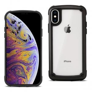 Reiko APPLE IPHONE XS MAX Heavy Duty Rugged Shockproof Full Body Case In Black/Clear