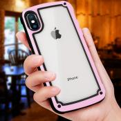 Reiko APPLE IPHONE XS MAX Heavy Duty Rugged Shockproof Full Body Case In Pink/Clear