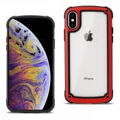Reiko APPLE IPHONE XS MAX Heavy Duty Rugged Shockproof Full Body Case In Red/Clear